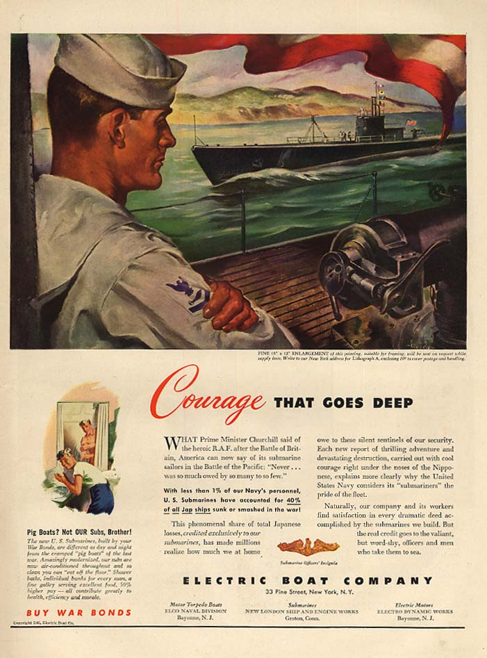 Courage that goes deep -Electric Boat Submarine ad 1943 L