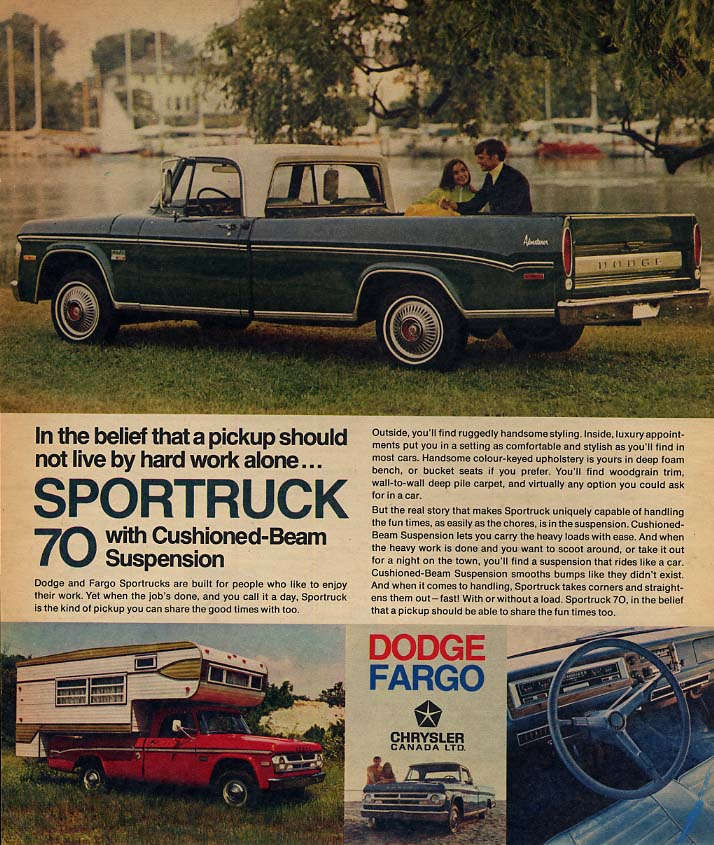 A pickup should not live by hard work alone Dodge Adventurer ad 1970 CSW