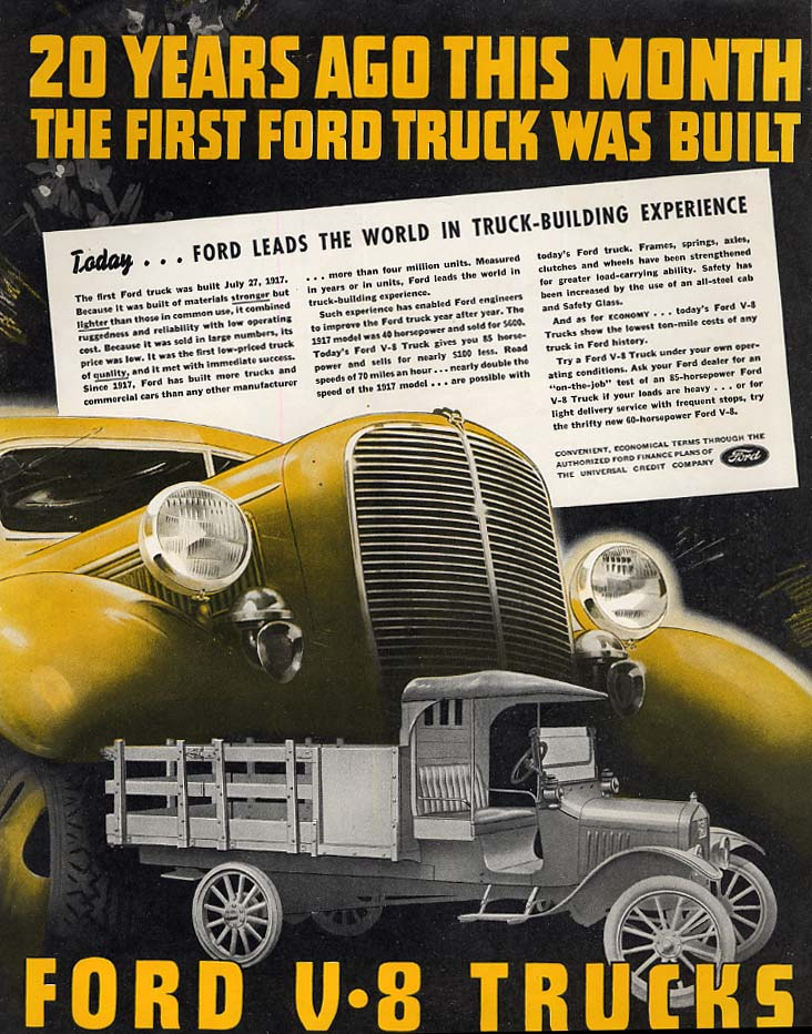 20 Years Ago the 1st Ford Truck was Built ad 1937 var