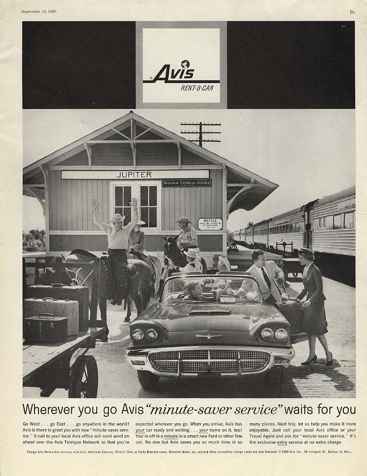 Image for Wherever you go Avis minute saver service Ford Thunderbird Convertible ad 1960 P
