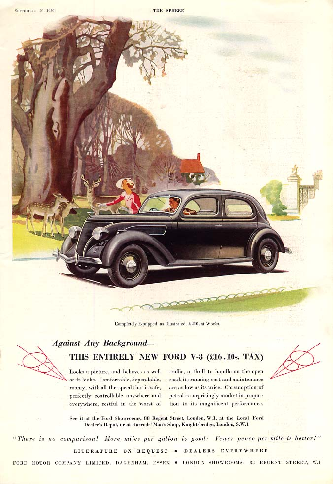 Against Any Background - This Entirely New Ford V-8 ad 1937 UK