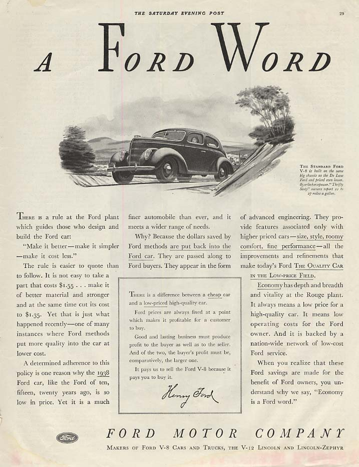 A Ford Word - There is a rule at the plant Ford V-8 Tudor ad 1938 SEP