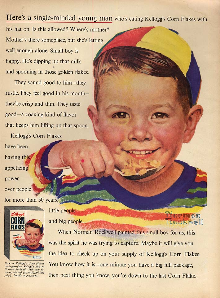 A single-minded young man for Kellogg's Corn Flakes ad 1954 Norman Rockwell L