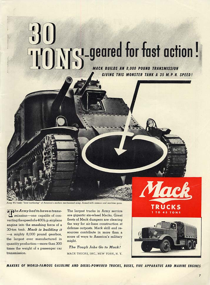 30 Tons geared for fast action US Army M-3 Tank built by Mack ad 1941 L