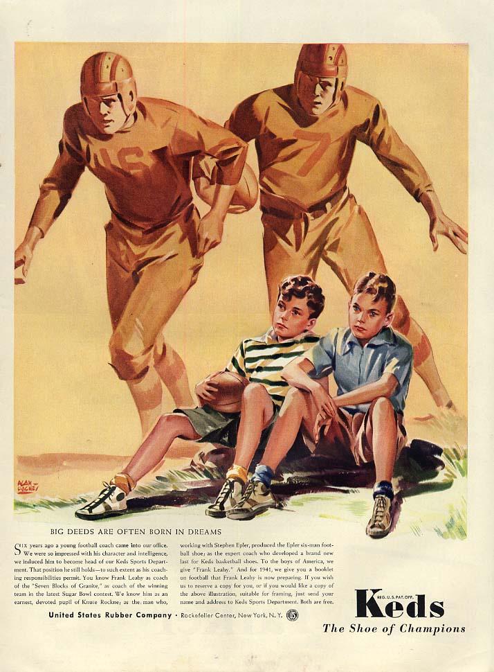 Big Deeds are Often Born in Dreams US Keds boys dream football ad 1941 L