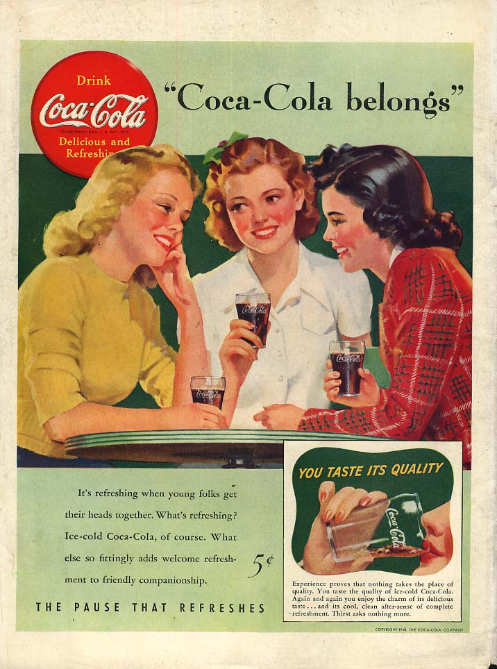 Coca-Cola belongs ad 1941 3 gals at soda fountain Sundblom art L