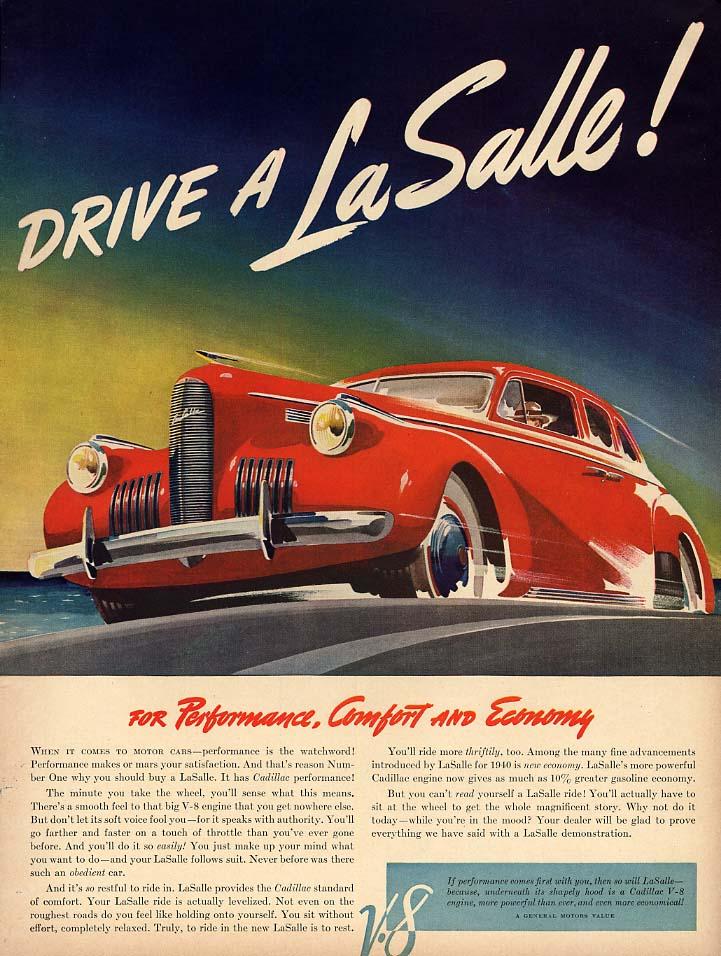 For performance comfort & economy - Drive a La Salle ad 1940 L