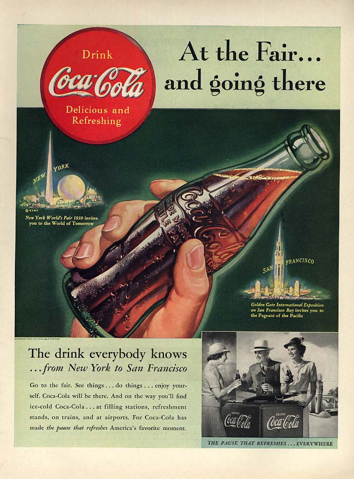 At the New York World's Fair & going there Coca-Cola ad 1939 L