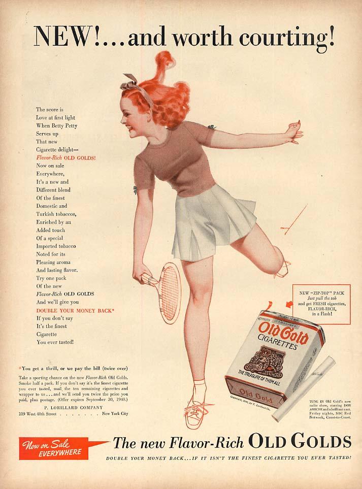 Old Gold Cigarettes Petty Girl tennis / International Trucks ad 1940 L