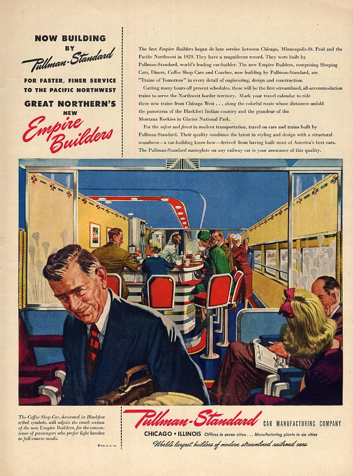 Great Northern RR Empire Builders Pullman- Standard passenger cars ad 1946 L