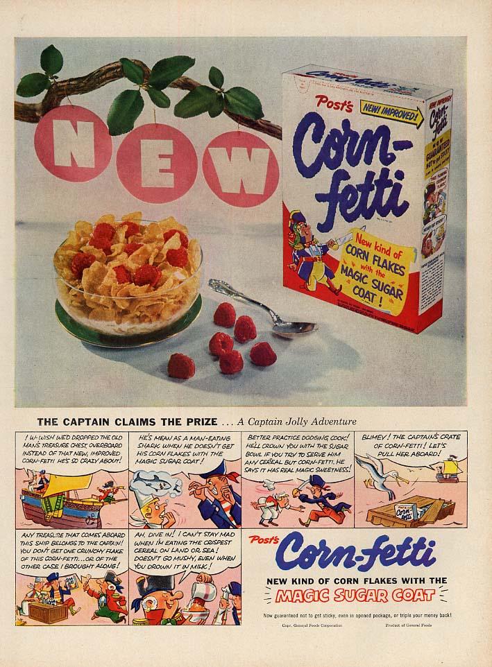 A Captain Jolly Adventure - Post's Corn-fetti Cereal ad 1953 L