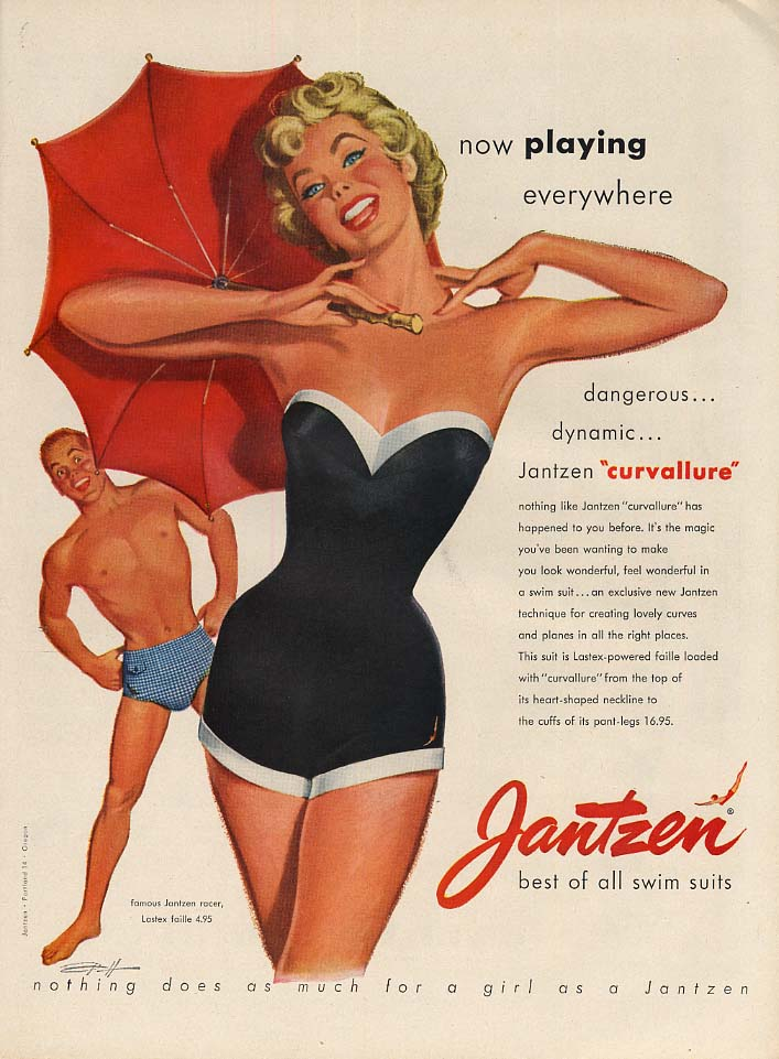 Image for Now playing everywhere - Jantzen Curvallure Swimsuit ad 1953 Pete Hawley L