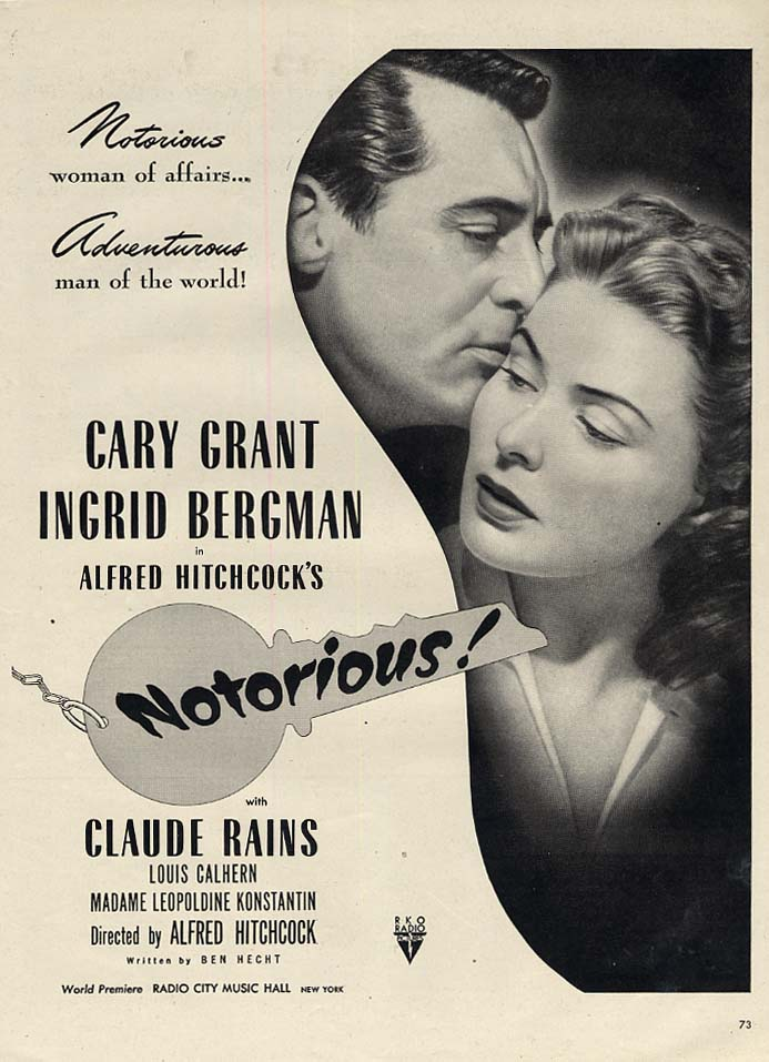 Alfred Hitchcock's Notorious! MOVIE MAGAZINE AD 1946 Cary Grant L