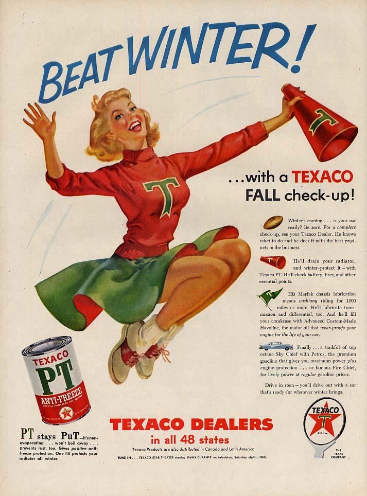 Beat Winter! Texaco Gasoline ad 1955 buxom cheerleader & megaphone L