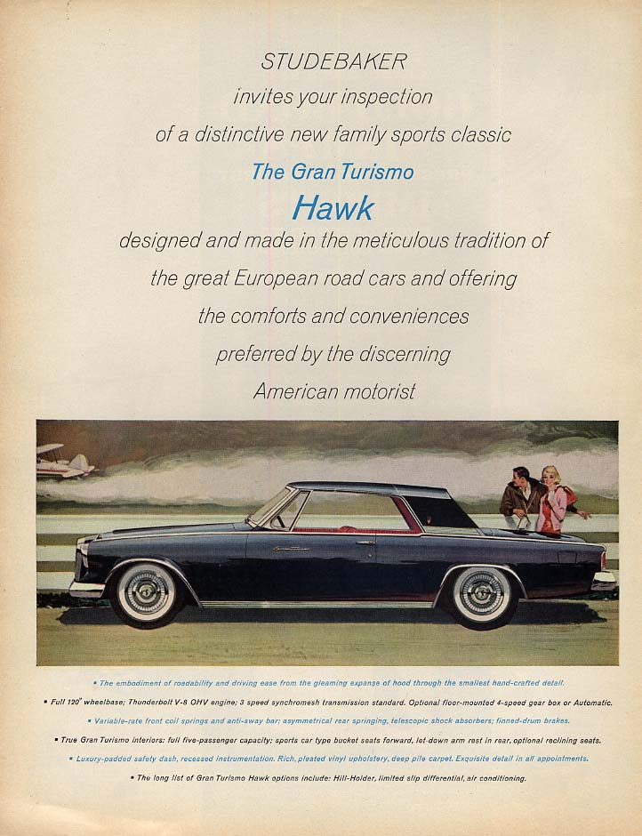 A distinctive new family sports classic Studebaker Gran Turismo Hawk ad 1962 L