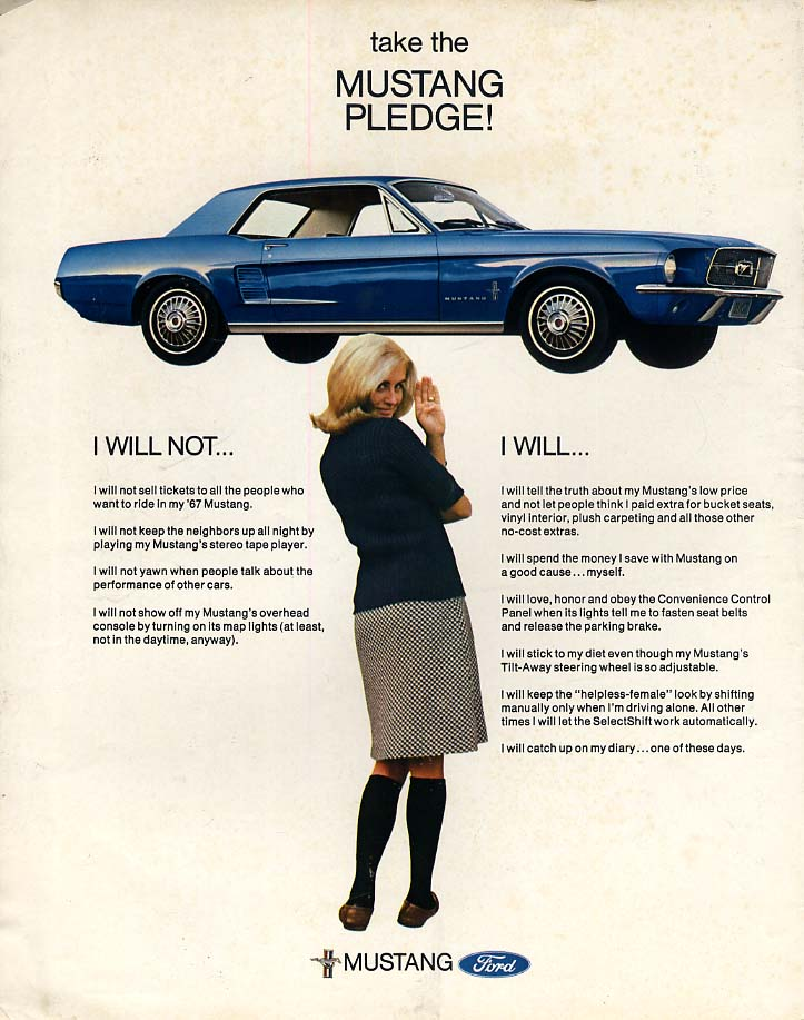Image for I will not - I will - Take the Ford Mustang Pledge ad 1967 LK
