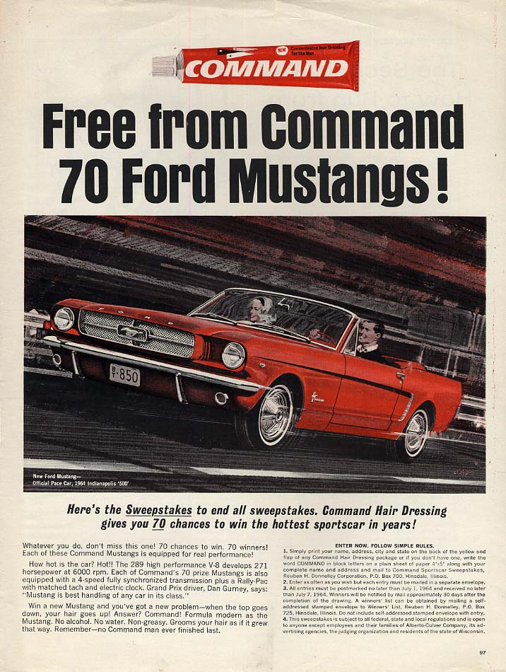 Image for Command Hair Dressing Mustang convertible ad 1964 L