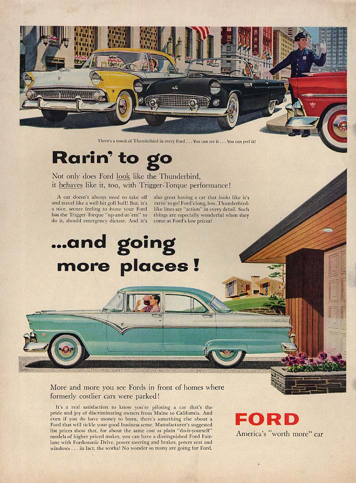 Image for Rarin' to go & going places Ford Town Sedan & Thunderbird ad 1955 L