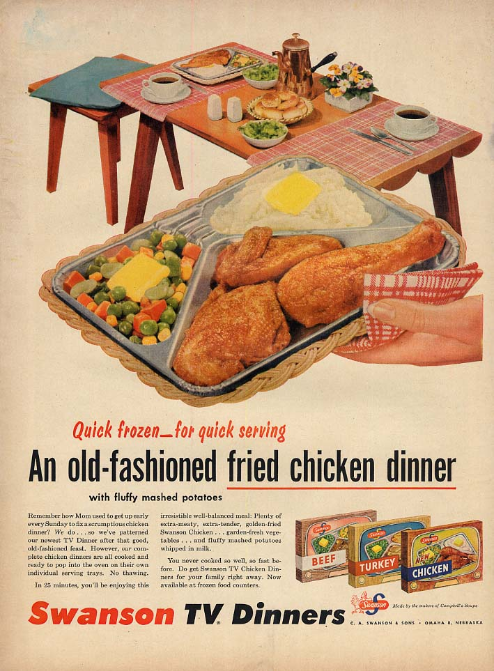 An old-fashioned fried chicken dinner Swanson TV Dinners ad 1955 L