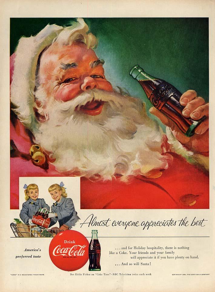 Almost everyone appreciates the best Santa Claus Coca-Cola ad 1955 Sundblom L
