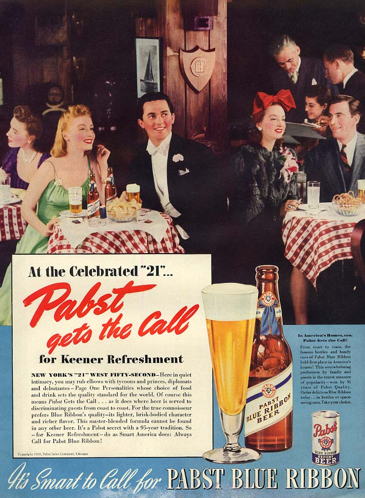 At the Celebrated 21 Club - Pabst Blue Ribbon Beer ad 1939 L
