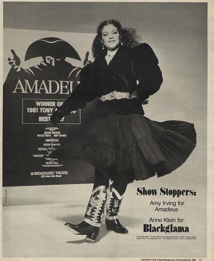 Amy Irving in Amadeus Anne Klein Blackglama Mink ad 1981