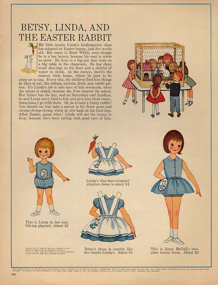 Betsy McCall Linda and the Easter Rabbit paper doll page 1963