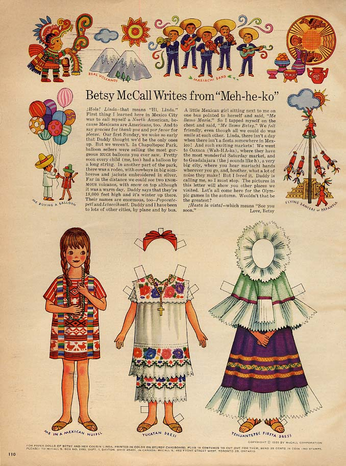 Betsy McCall Writes from Meh-he-ko Mexico paperdoll page 1968