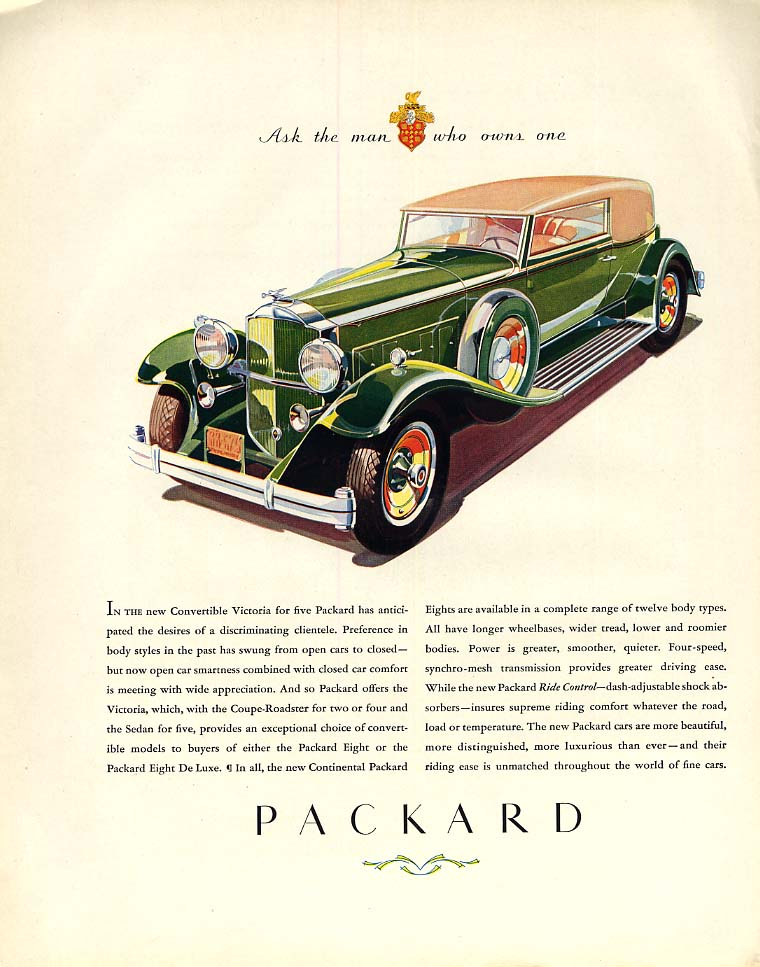 In the new Convertible Victoria for five - Packard ad 1932 F