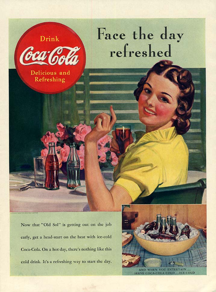 Face the day refreshed Coca-Cola ad 1939 woman at table L