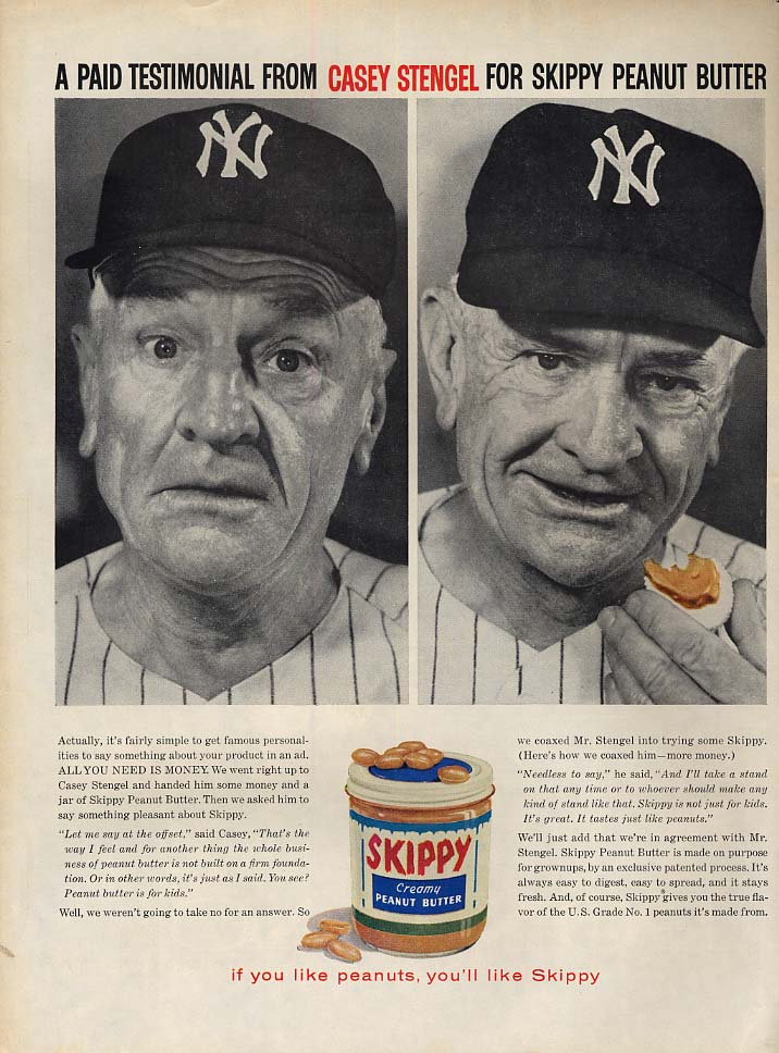 A Paid Testimonial for Skippy Peanut Butter by Casey Stengel ad 1959 L