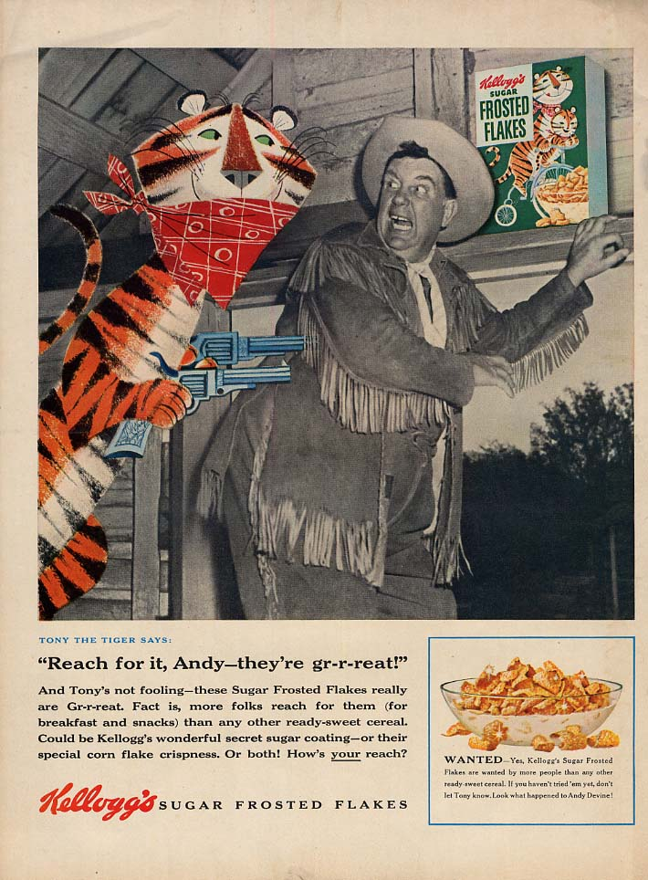 Andy Devine of Wild Bill Nickok for Kellogg's Froster Flakes ad 1955 L