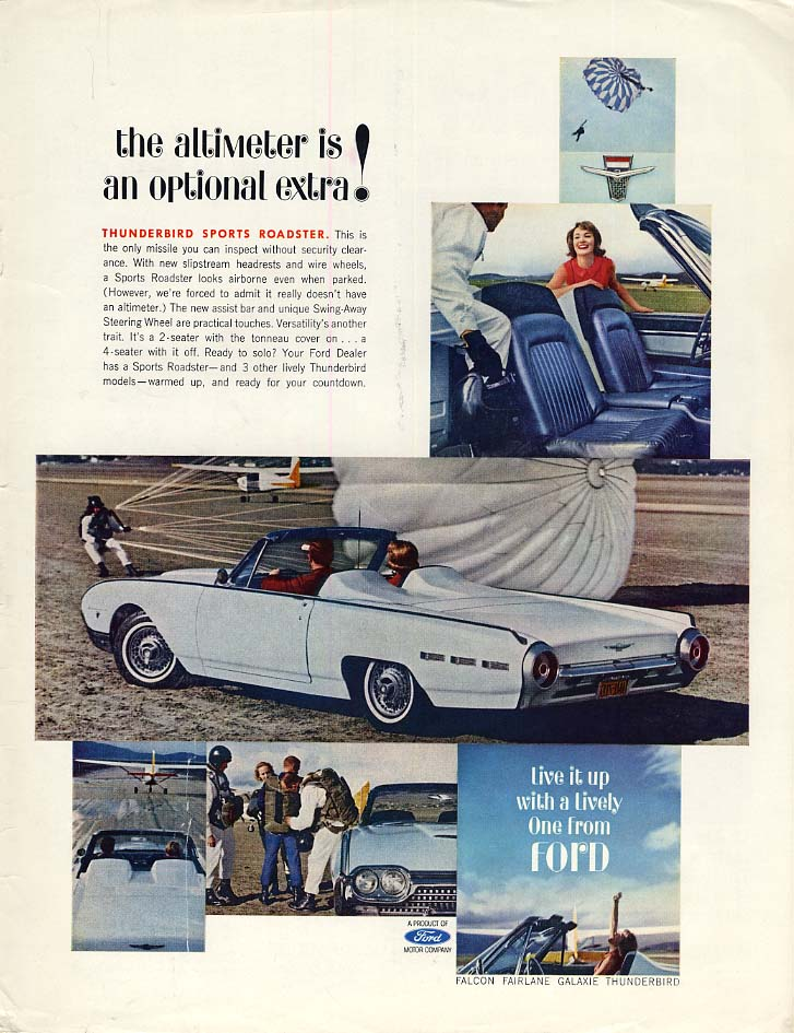 Image for The altimeter is an optional extra! Ford Thunderbird Sports Roadster ad 1962 L