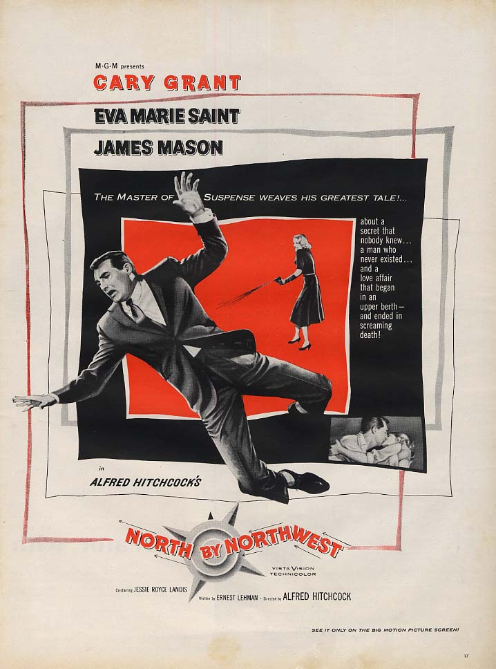 Alfred Hitchcock's North by Northwest MOVIE ADVERTISEMENT 1959 L