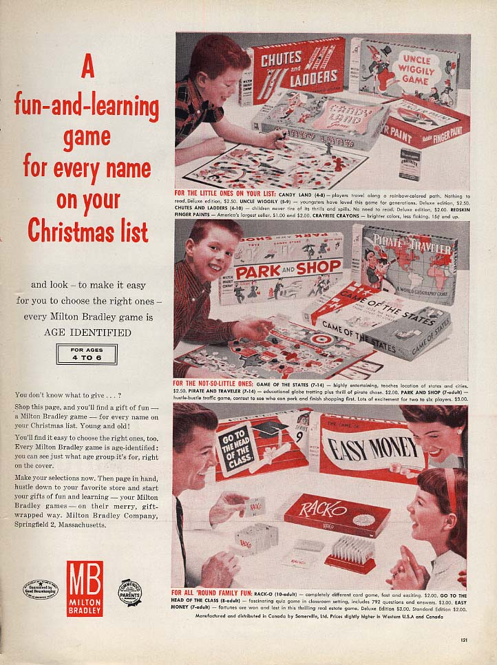 A fun-&-learning game for everyone Milton Bradley ad Easy Money Wiggily + 1959 L