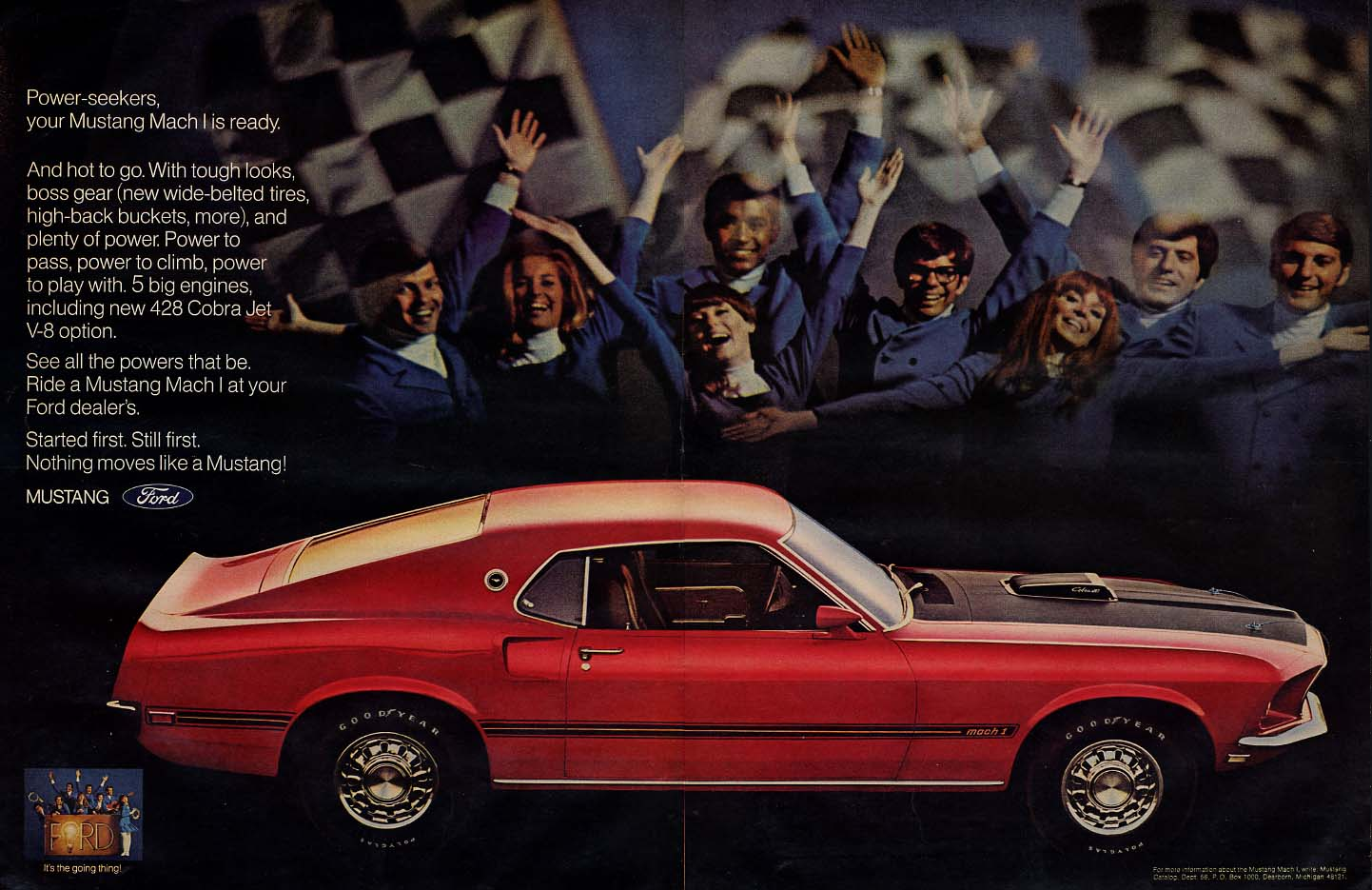 Power seekers your Ford Mustang Mach I Cobra Jet is ready ad 1969 L