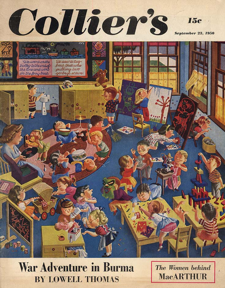 COLLIER'S COVER 9/23 1950 Kindergarten madness by The Berenstains