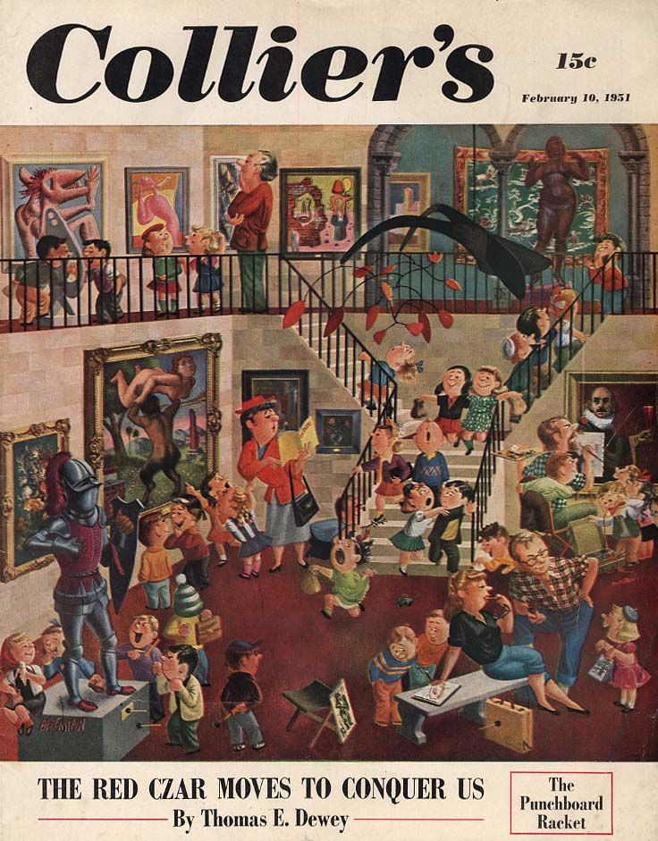 COLLIER'S COVER 2/10 1951 School kids at the art museum by The Berenstains
