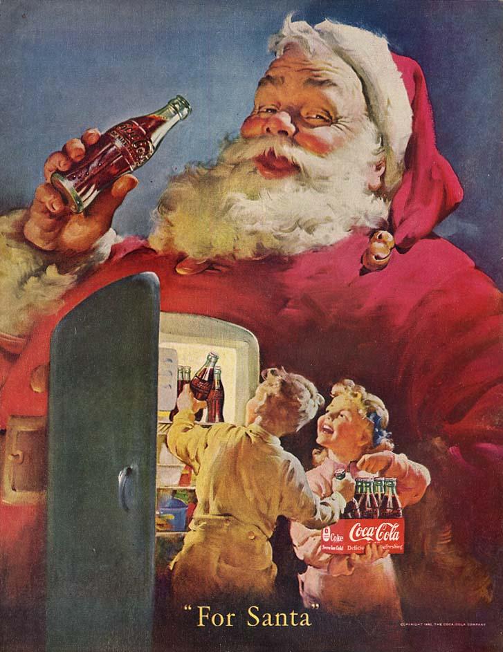 For Santa Claus - kids load Coca-Cola into refrigerator ad 1950 Col