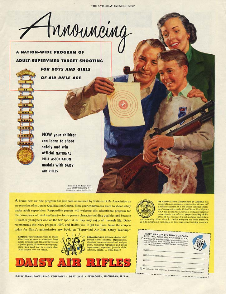 Adult-Supervised Target Shooting for Air Rifles - Daisy B-B Guns ad 1951 SEP