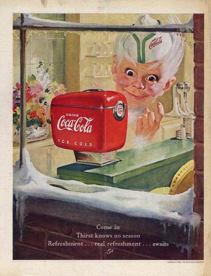 Come in Thirst knows no season Coke Boy Coca-Cola Soda Fountain ad 1948 SEP
