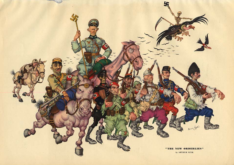 The New Orderlies by Arthur Szyk: Nazi Conscripted Soldiers 1942 Esquire