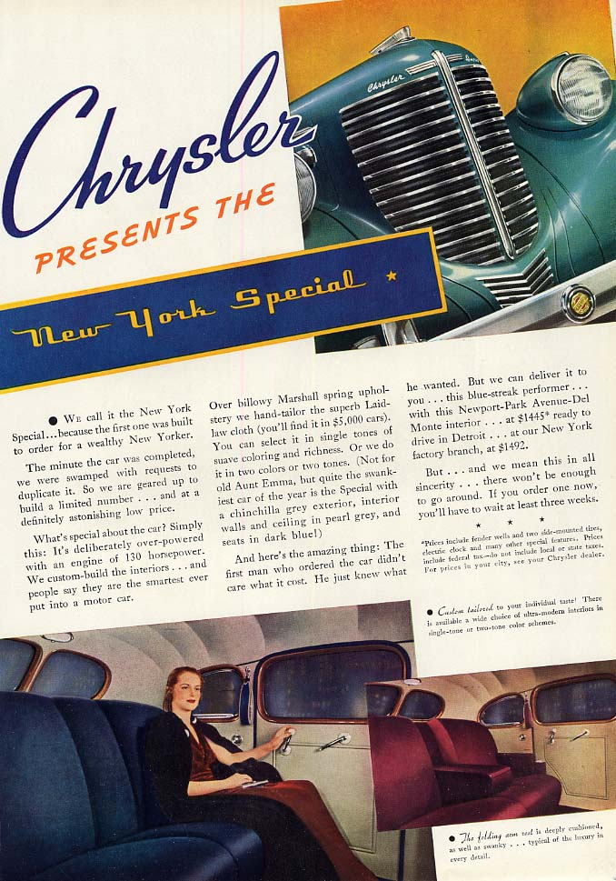 Image for Chrysler presents the New York Special ad 1938 ESQ