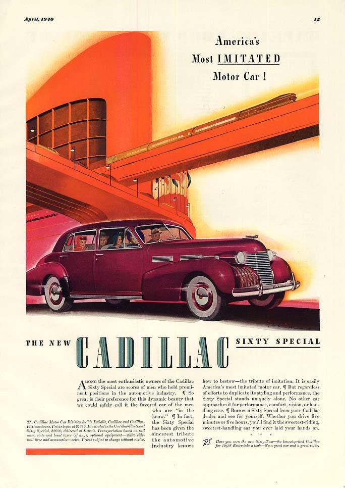 America's Most Imitated Motor Car! Cadillac Sixty Special ad 1940 ESQ