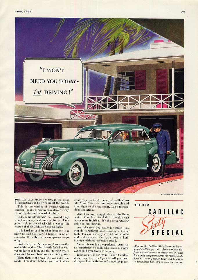 I Won't Need You toady - I'm Driving! Cadillac Sixty Special ad 1939 ESQ