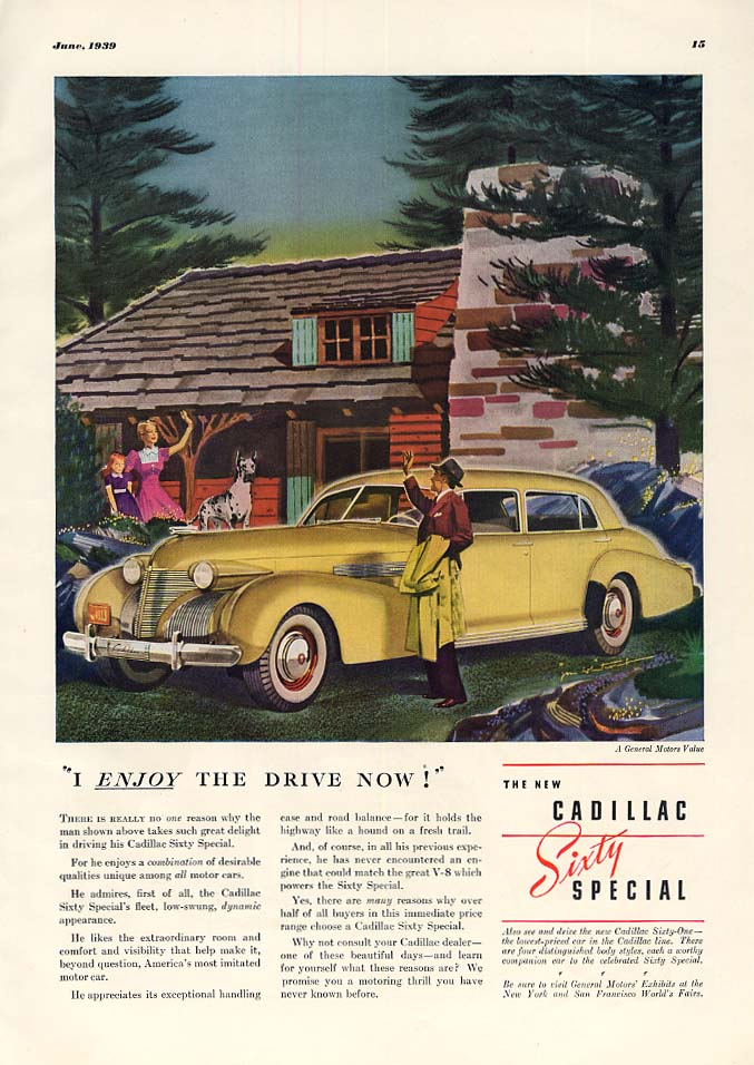 I enjoy the Drive now! Cadillac Sixty Special ad 1939 ESQ
