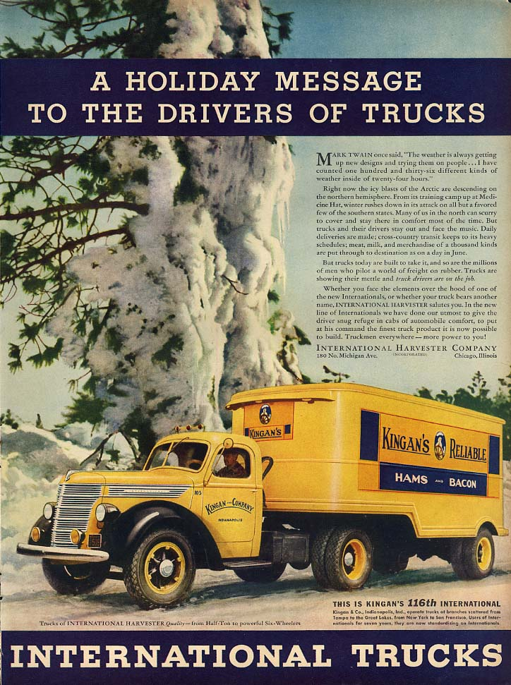 A Holiday message to truck drivers International Kingan's Hams truck ad 1938 L