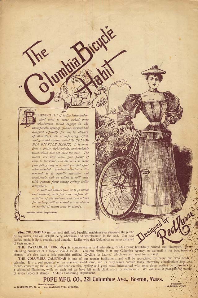 The Columbia Bicycle Habit designed by Redfern: Pope Mfg ad 1894