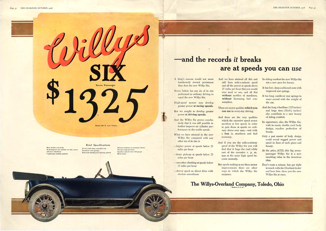 Image for The records it breaks are at speeds you can use Willys Six Touring car ad 1916