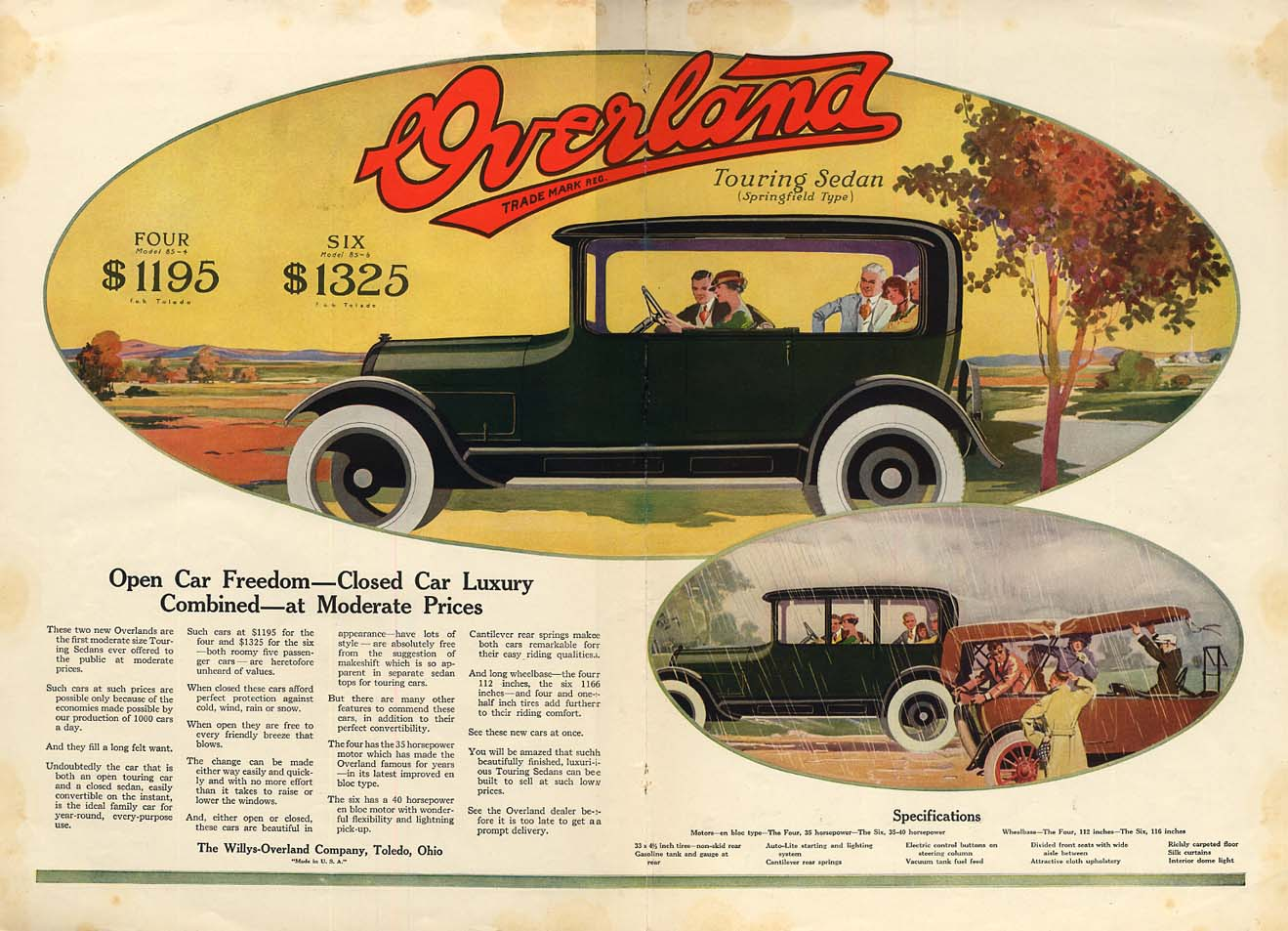 Image for Open Car Freedon Closed Car Luxury Combined - Overland Touring Sedan ad 1917